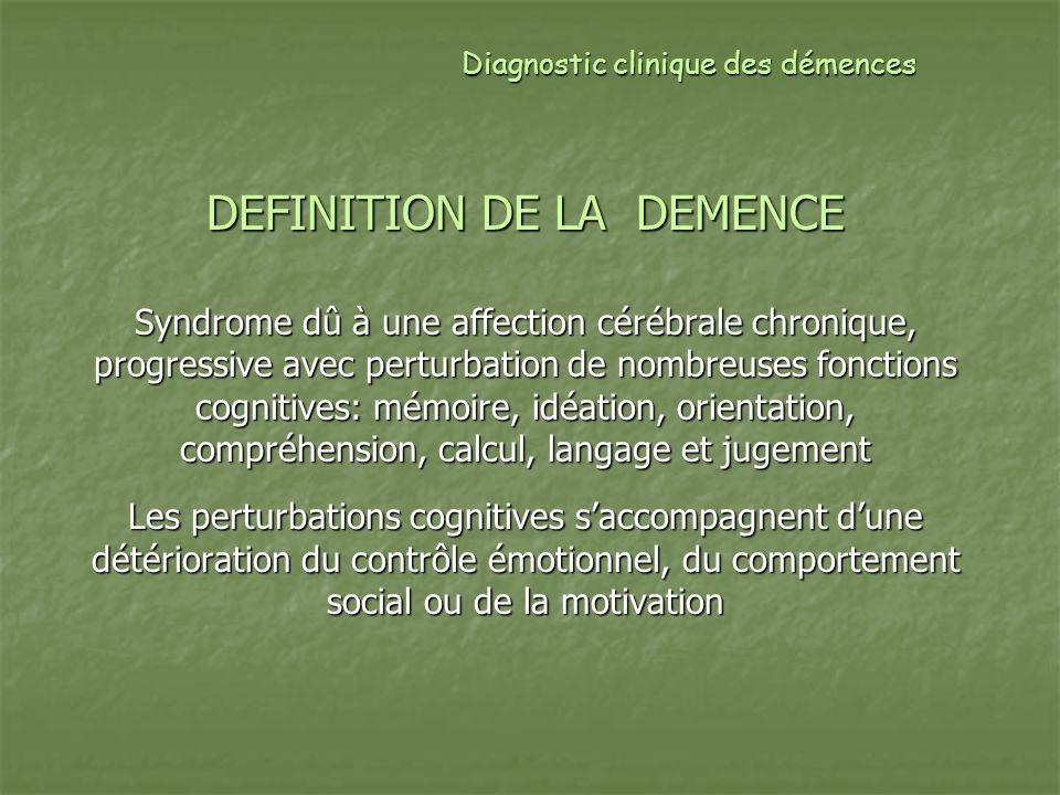 Clinique: troubles mnésiques Maladie dAlzheimer: maladie de la mémoire +++ Atteinte de tous les processus mnésiques (encodage, stockage, récupération) Évocateur: atteinte du stockage, non amélioré par lindiçage Mode de début le plus fréquent > 3 cas/4 +/- plainte, +/- minimisation des troubles Oubli des évènements récents, des tâches à effectuer ou de trajets +/- DTS