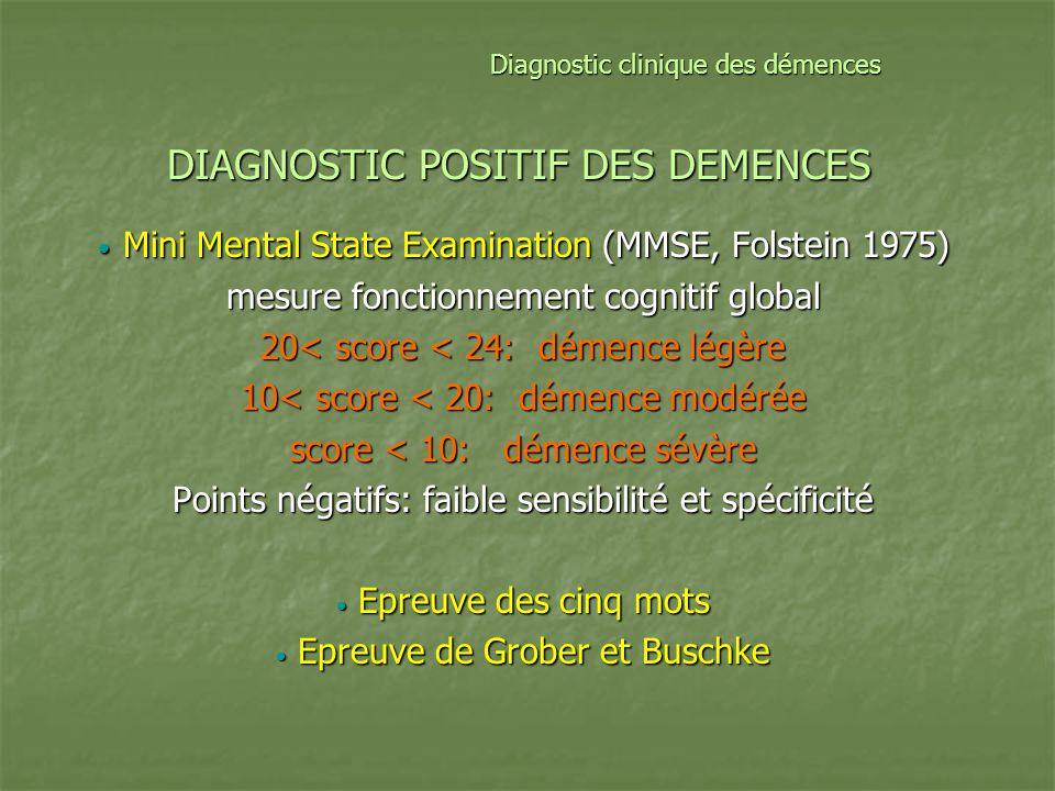 Clinique: troubles somatiques Pas de signes neurologiques sauf en fin dévolution +++ Signes extrapyramidaux tardifs Dg Démence à corps de Lewy Crises épileptiques tardives Réflexes archaïques au stade terminal Dg DFT Incontinence sphinctérienne nocturne aggravée par les I-AChE (instabilité vésicale) Amaigrissement fréquent Baisse de lodorat précoce