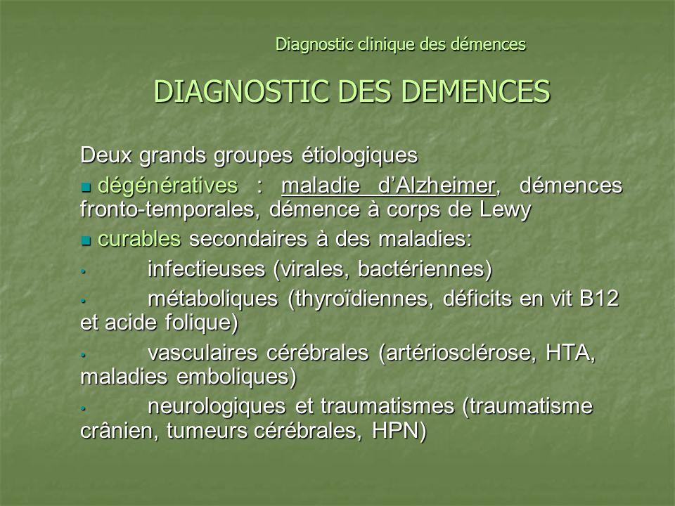 DIAGNOSTIC DES DEMENCES Deux grands groupes étiologiques dégénératives : maladie dAlzheimer, démences fronto-temporales, démence à corps de Lewy dégén