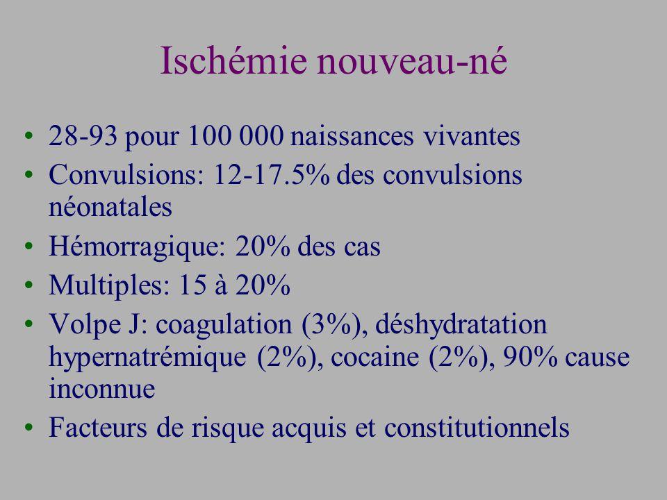 Ischémie nouveau-né 28-93 pour 100 000 naissances vivantes Convulsions: 12-17.5% des convulsions néonatales Hémorragique: 20% des cas Multiples: 15 à 20% Volpe J: coagulation (3%), déshydratation hypernatrémique (2%), cocaine (2%), 90% cause inconnue Facteurs de risque acquis et constitutionnels