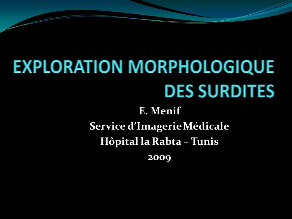 E. Menif Service dImagerie Médicale Hôpital la Rabta – Tunis 2009