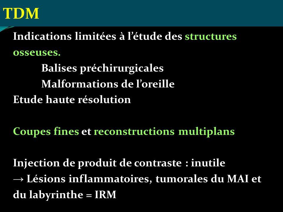 Indications limitées à létude des structures osseuses. Balises préchirurgicales Malformations de loreille Etude haute résolution Coupes fines et recon