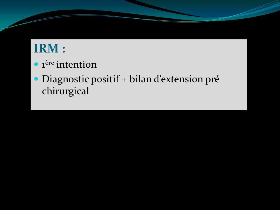 IRM : 1 ère intention Diagnostic positif + bilan dextension pré chirurgical