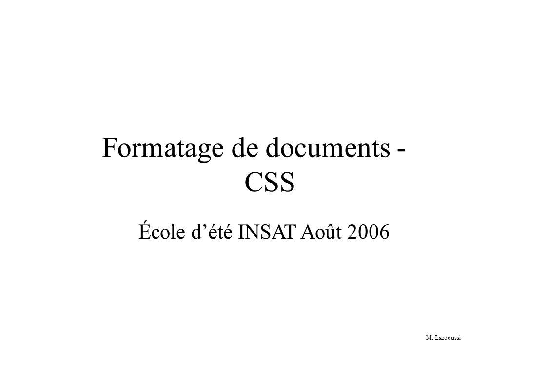 M. Larooussi Formatage de documents - CSS École dété INSAT Août 2006