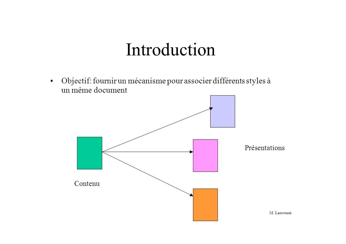M. Larooussi Introduction Objectif: fournir un mécanisme pour associer différents styles à un même document Contenu Présentations