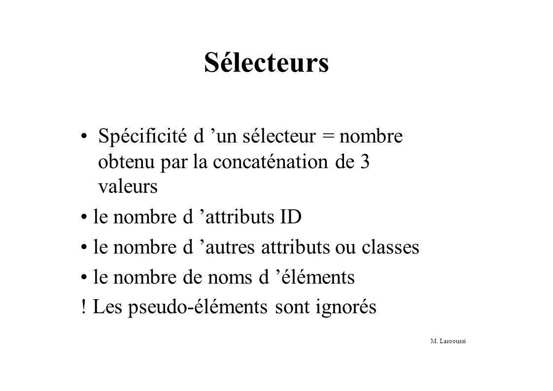M. Larooussi Sélecteurs Spécificité d un sélecteur = nombre obtenu par la concaténation de 3 valeurs le nombre d attributs ID le nombre d autres attri