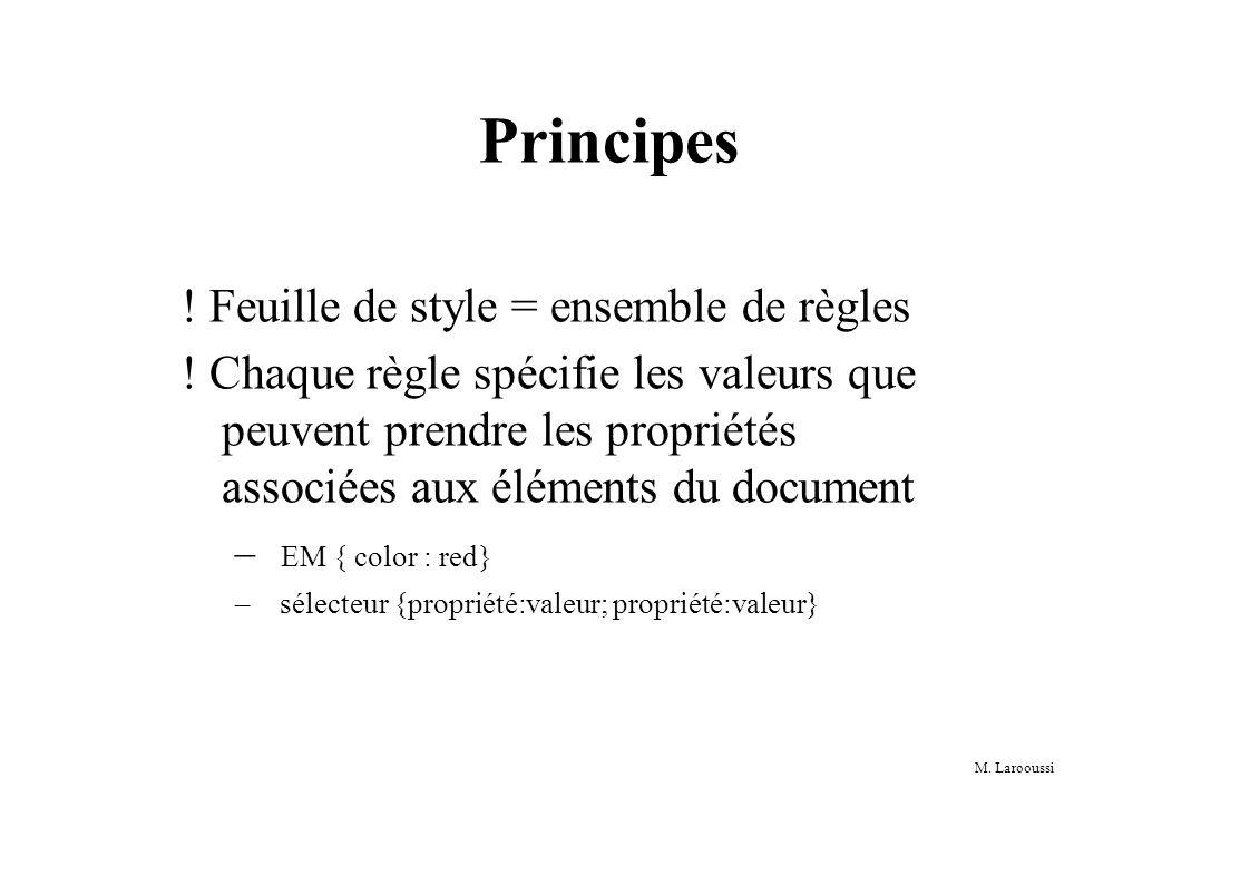 Principes . Feuille de style = ensemble de règles .