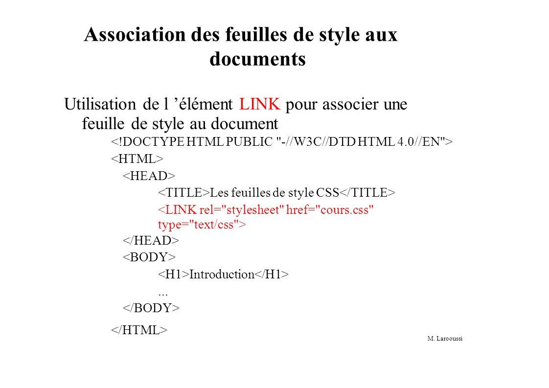 M. Larooussi Association des feuilles de style aux documents Utilisation de l élément LINK pour associer une feuille de style au document Les feuilles