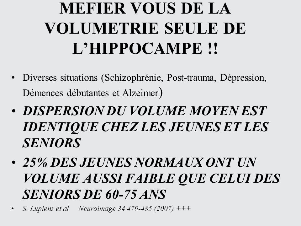 MEFIER VOUS DE LA VOLUMETRIE SEULE DE LHIPPOCAMPE !! Diverses situations (Schizophrénie, Post-trauma, Dépression, Démences débutantes et Alzeimer ) DI
