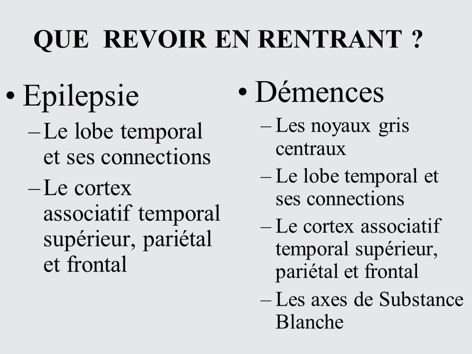 QUE REVOIR EN RENTRANT ? Epilepsie –Le lobe temporal et ses connections –Le cortex associatif temporal supérieur, pariétal et frontal Démences –Les no