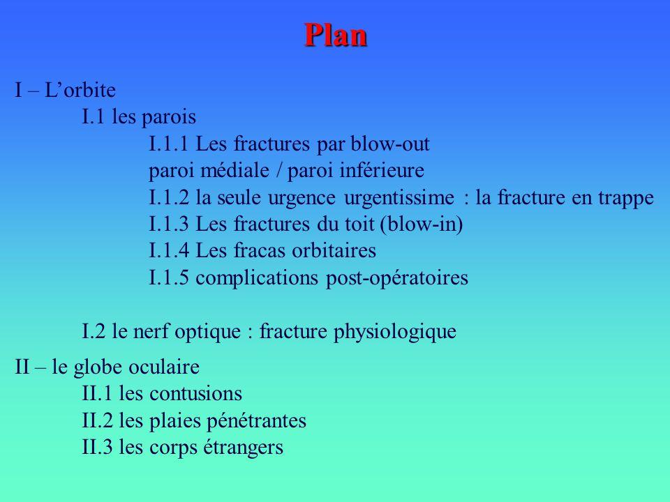 Plan I – Lorbite I.1 les parois I.1.1 Les fractures par blow-out paroi médiale / paroi inférieure I.1.2 la seule urgence urgentissime : la fracture en