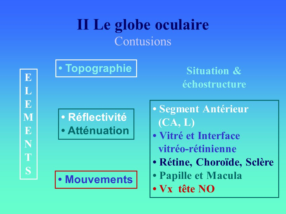 II Le globe oculaire Contusions ELEMENTSELEMENTS Topographie Réflectivité Atténuation Mouvements Situation & échostructure Segment Antérieur (CA, L) V