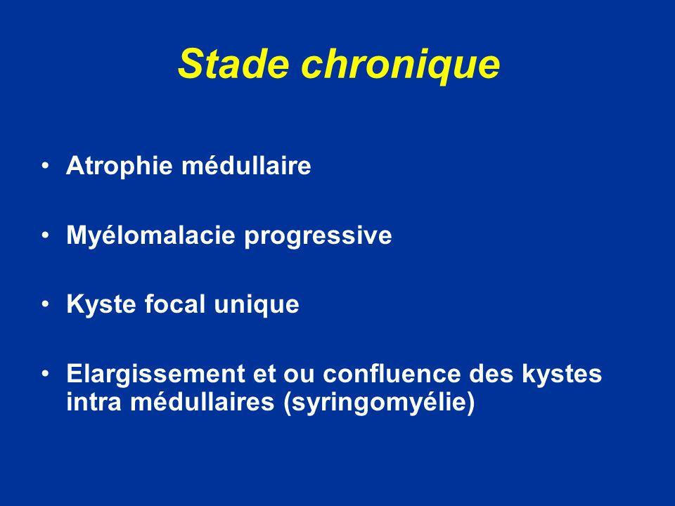 Stade chronique Atrophie médullaire Myélomalacie progressive Kyste focal unique Elargissement et ou confluence des kystes intra médullaires (syringomyélie)