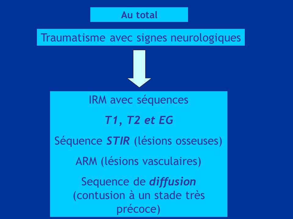 Au total Traumatisme avec signes neurologiques IRM avec séquences T1, T2 et EG Séquence STIR (lésions osseuses) ARM (lésions vasculaires) Sequence de diffusion (contusion à un stade très précoce)