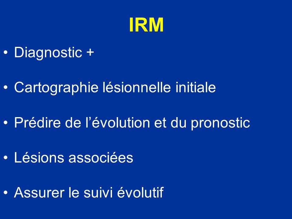 IRM T1: étude anatomique T2: anomalies de signal EG: hémorragie STIR: contusions osseuses et tissus mous ARM: lésions vasculaires Diffusion: stade précoce de contusion