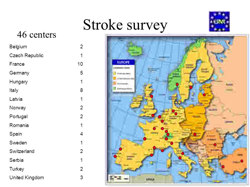 Stroke survey 46 centers Belgium2 Czech Republic1 France10 Germany5 Hungary1 Italy8 Latvia1 Norway2 Portugal2 Romania1 Spain4 Sweden1 Switzerland 2 Se