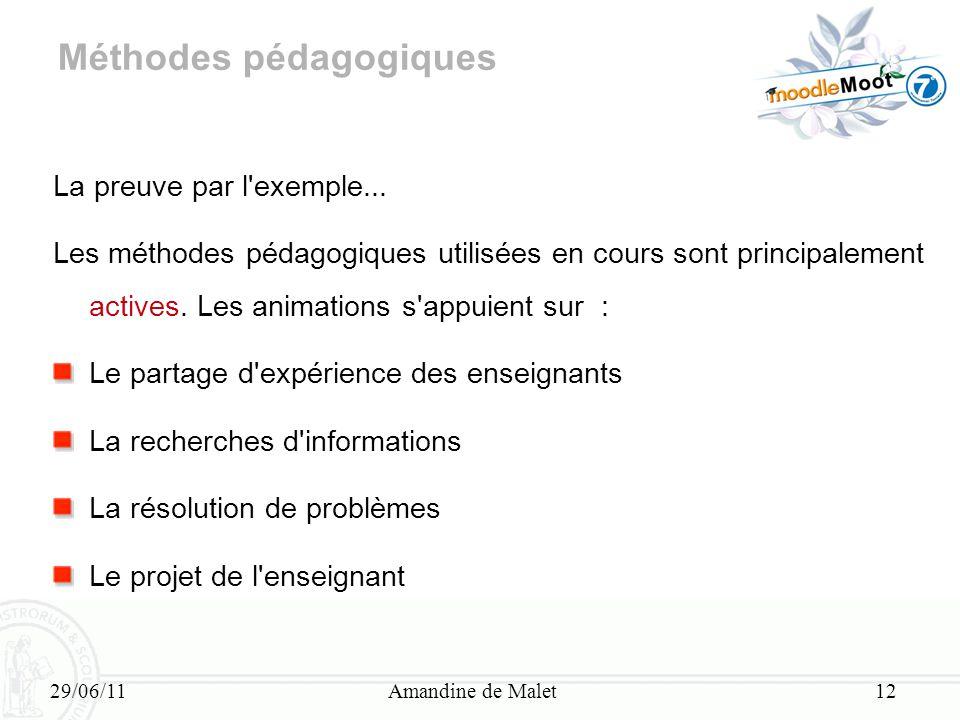 29/06/11Amandine de Malet12 Méthodes pédagogiques La preuve par l'exemple... Les méthodes pédagogiques utilisées en cours sont principalement actives.