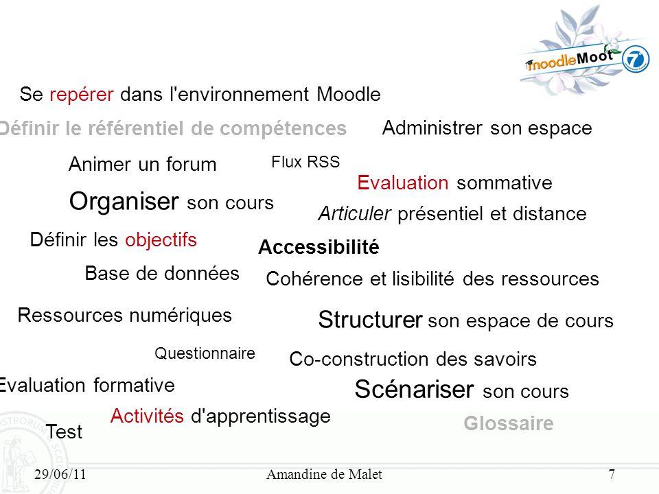 29/06/11Amandine de Malet7 Se repérer dans l'environnement Moodle Définir le référentiel de compétences Animer un forum Organiser son cours Définir le
