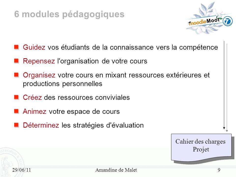 29/06/11Amandine de Malet9 6 modules pédagogiques Guidez vos étudiants de la connaissance vers la compétence Repensez l'organisation de votre cours Or