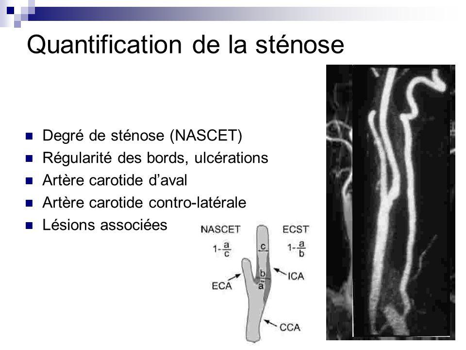 Degré de sténose (NASCET) Régularité des bords, ulcérations Artère carotide daval Artère carotide contro-latérale Lésions associées Quantification de