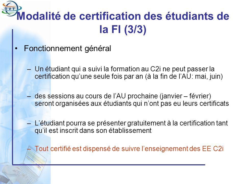 Certificat Informatique et Internet Modalité de certification des étudiants de la FI (3/3) Fonctionnement général –Un étudiant qui a suivi la formatio