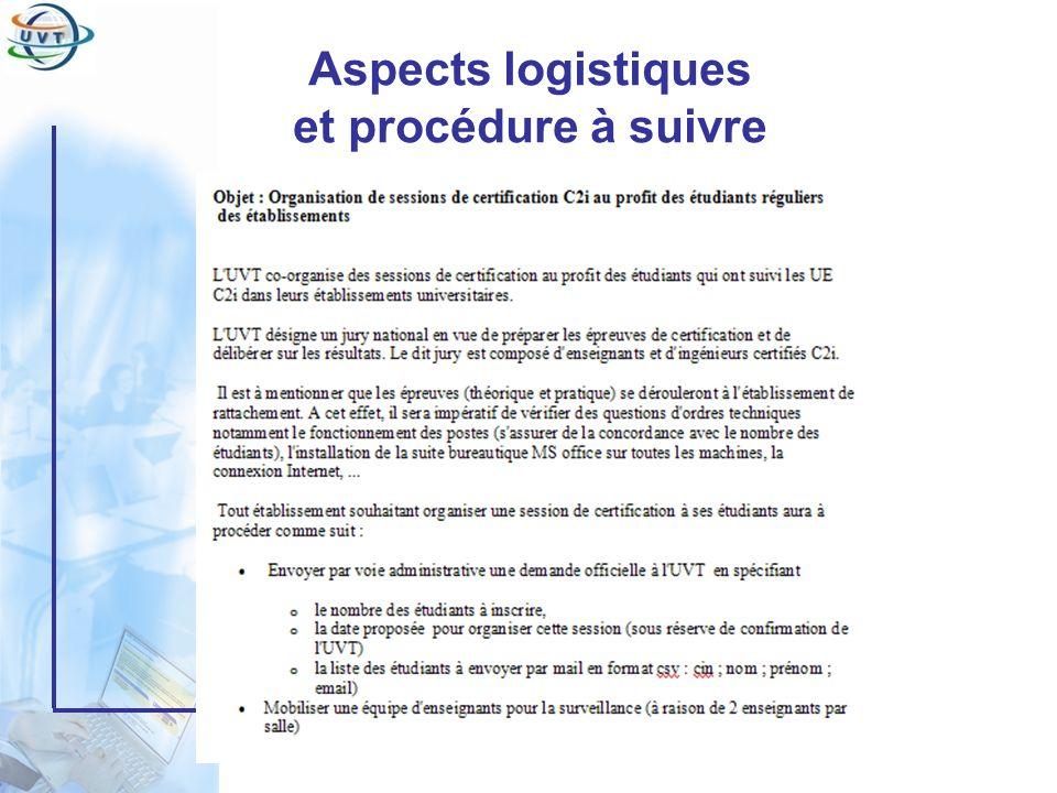 Certificat Informatique et Internet Aspects logistiques et procédure à suivre
