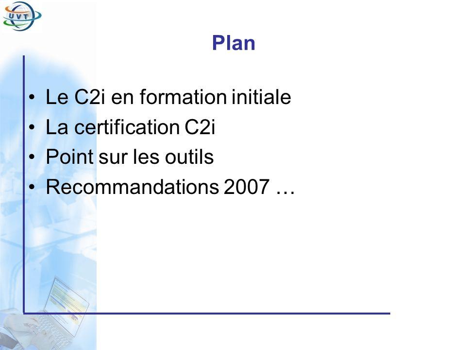 Certificat Informatique et Internet Mise en place Avril 2005: Constitution du comité de pilotage Juin 2005: Création des équipes pédagogiques pour chaque module Septembre 2005: 1 ère version de contenus Octobre 2005: Démarrage de lexpérimentation en FC Février 2006: Installation des plates forme de positionnement et de certification Septembre 2006: Démarrage de lexpérimentation du C2i à la FI Septembre 2007: Généralisation du C2i dans tous les établissements tunisiens