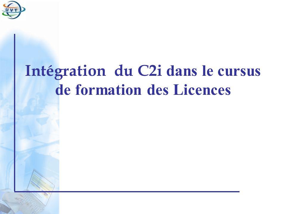 Certificat Informatique et Internet Chaque institution a la liberté de choisir le mode de formation pour les deux EE « préparation au C2i » (tout présentiel, tout à distance, présentiel enrichi, présentiel réduit, etc.) Il est proposé en mode présentiel : –EE1 : C2i1: 21h; 2ects –EE2 : C2i2: 21h; 2ects La Formation initiale dans les établissements