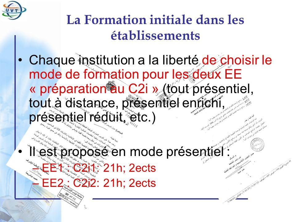 Certificat Informatique et Internet Chaque institution a la liberté de choisir le mode de formation pour les deux EE « préparation au C2i » (tout prés