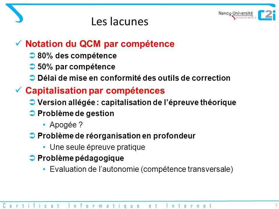 11 Les lacunes Notation du QCM par compétence 80% des compétence 50% par compétence Délai de mise en conformité des outils de correction Capitalisation par compétences Version allégée : capitalisation de lépreuve théorique Problème de gestion Apogée .