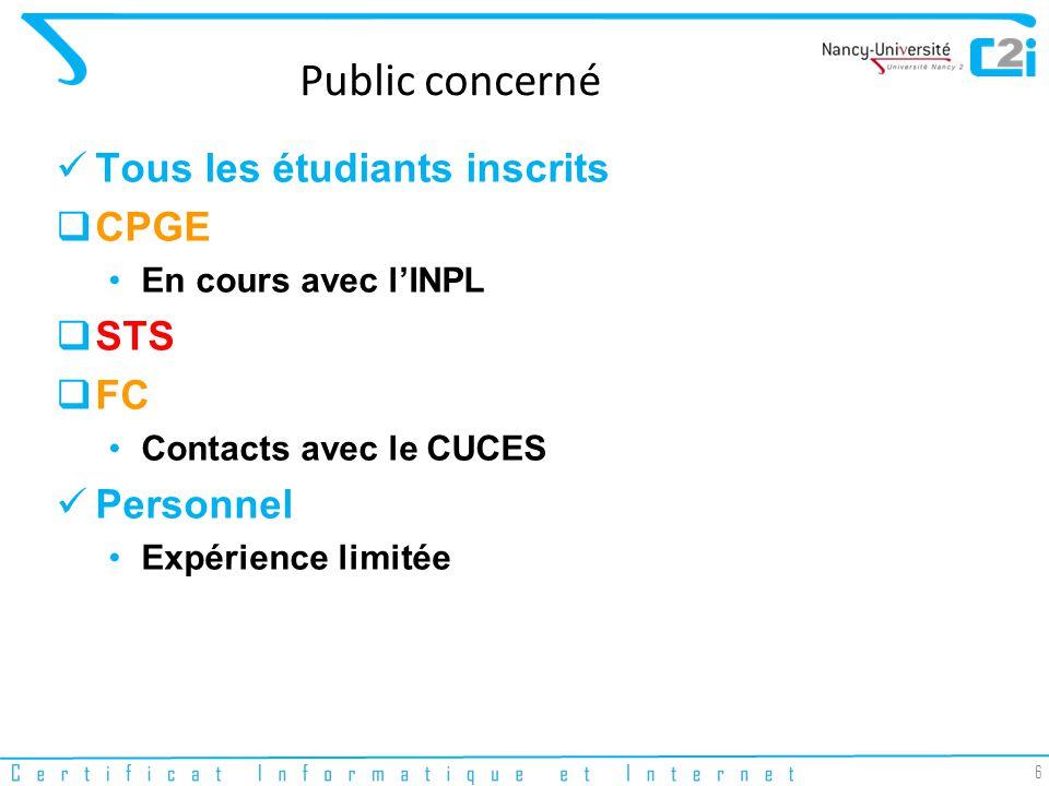 6 Public concerné Tous les étudiants inscrits CPGE En cours avec lINPL STS FC Contacts avec le CUCES Personnel Expérience limitée