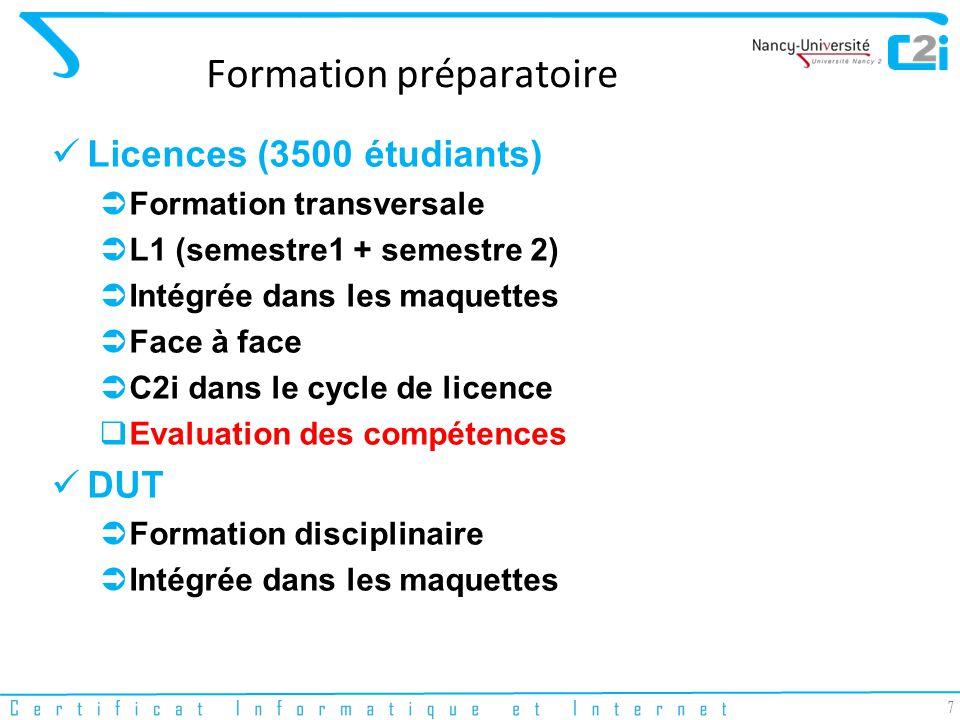 7 Formation préparatoire Licences (3500 étudiants) Formation transversale L1 (semestre1 + semestre 2) Intégrée dans les maquettes Face à face C2i dans le cycle de licence Evaluation des compétences DUT Formation disciplinaire Intégrée dans les maquettes