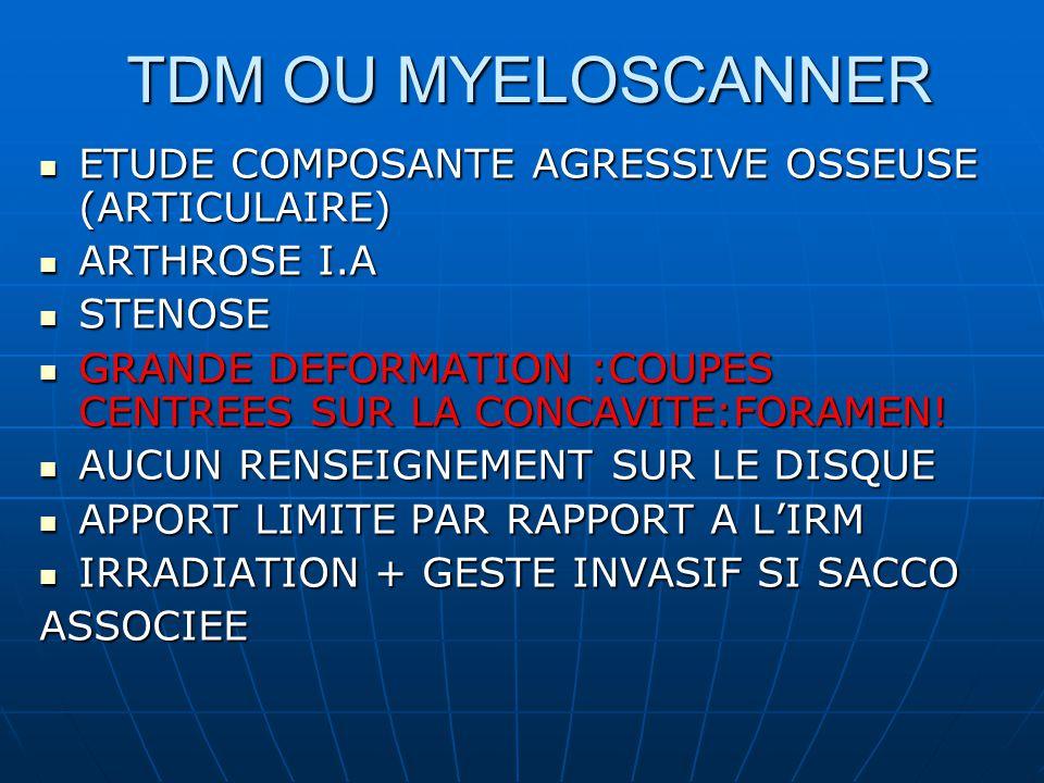 TDM OU MYELOSCANNER ETUDE COMPOSANTE AGRESSIVE OSSEUSE (ARTICULAIRE) ETUDE COMPOSANTE AGRESSIVE OSSEUSE (ARTICULAIRE) ARTHROSE I.A ARTHROSE I.A STENOSE STENOSE GRANDE DEFORMATION :COUPES CENTREES SUR LA CONCAVITE:FORAMEN.