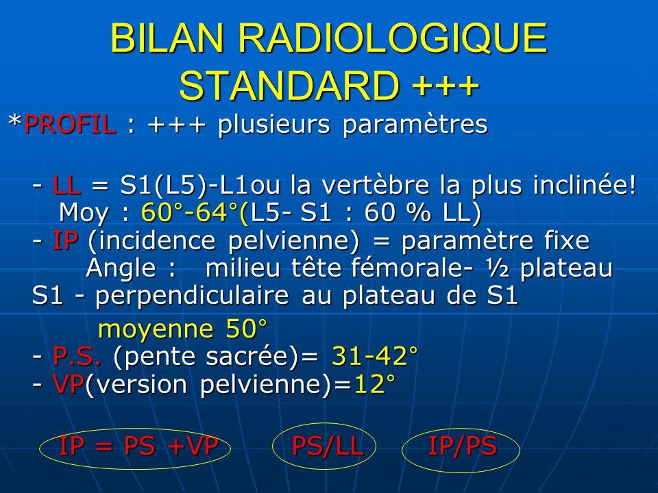BILAN RADIOLOGIQUE STANDARD +++ *PROFIL : +++ plusieurs paramètres - LL = S1(L5)-L1ou la vertèbre la plus inclinée! Moy : 60°-64°(L5- S1 : 60 % LL) -