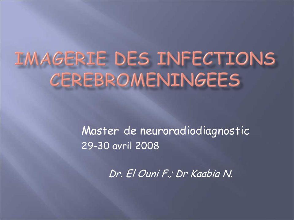 Master de neuroradiodiagnostic 29-30 avril 2008 Dr. El Ouni F.; Dr Kaabia N.