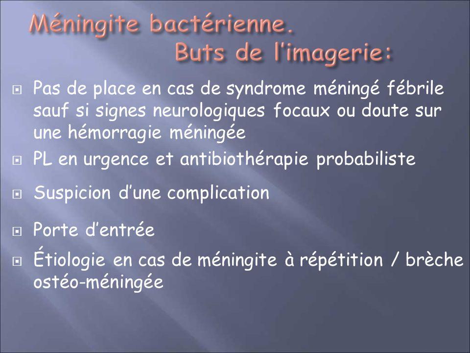 Pas de place en cas de syndrome méningé fébrile sauf si signes neurologiques focaux ou doute sur une hémorragie méningée PL en urgence et antibiothéra
