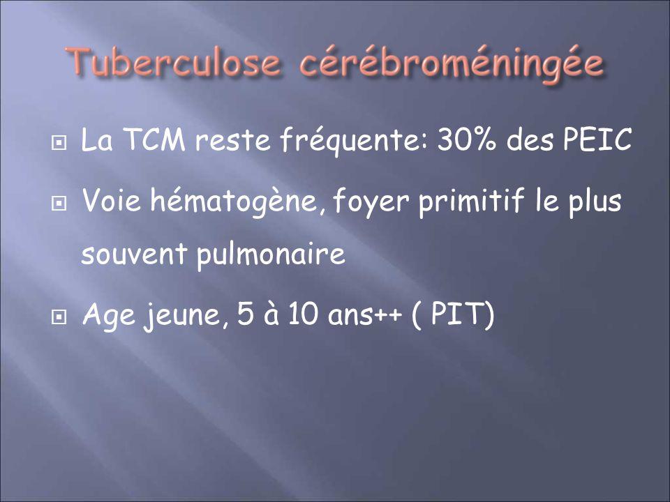 La TCM reste fréquente: 30% des PEIC Voie hématogène, foyer primitif le plus souvent pulmonaire Age jeune, 5 à 10 ans++ ( PIT)