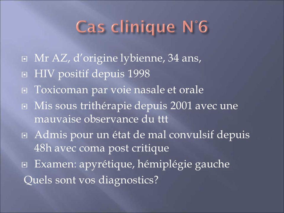 Mr AZ, dorigine lybienne, 34 ans, HIV positif depuis 1998 Toxicoman par voie nasale et orale Mis sous trithérapie depuis 2001 avec une mauvaise observ