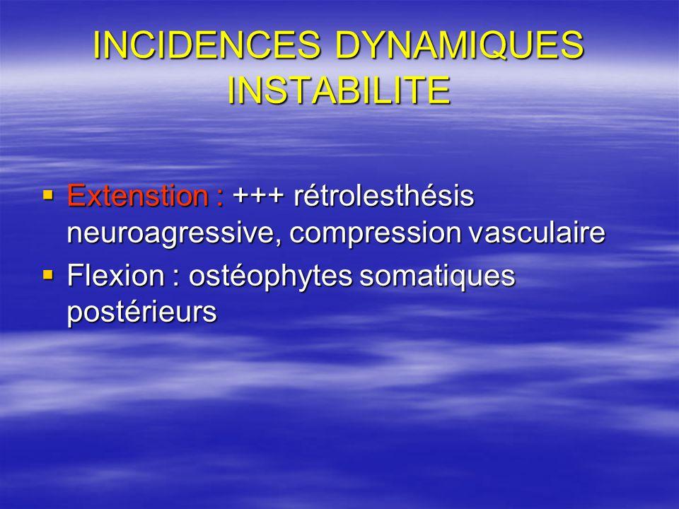 INCIDENCES DYNAMIQUES INSTABILITE Extenstion : +++ rétrolesthésis neuroagressive, compression vasculaire Extenstion : +++ rétrolesthésis neuroagressive, compression vasculaire Flexion : ostéophytes somatiques postérieurs Flexion : ostéophytes somatiques postérieurs