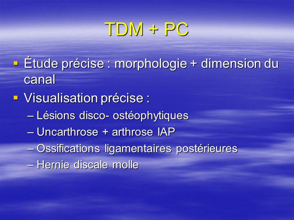 TDM + PC Étude précise : morphologie + dimension du canal Étude précise : morphologie + dimension du canal Visualisation précise : Visualisation précise : –Lésions disco- ostéophytiques –Uncarthrose + arthrose IAP –Ossifications ligamentaires postérieures –Hernie discale molle