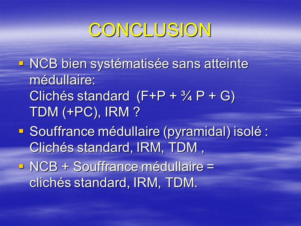 CONCLUSION NCB bien systématisée sans atteinte médullaire: Clichés standard (F+P + ¾ P + G) TDM (+PC), IRM .