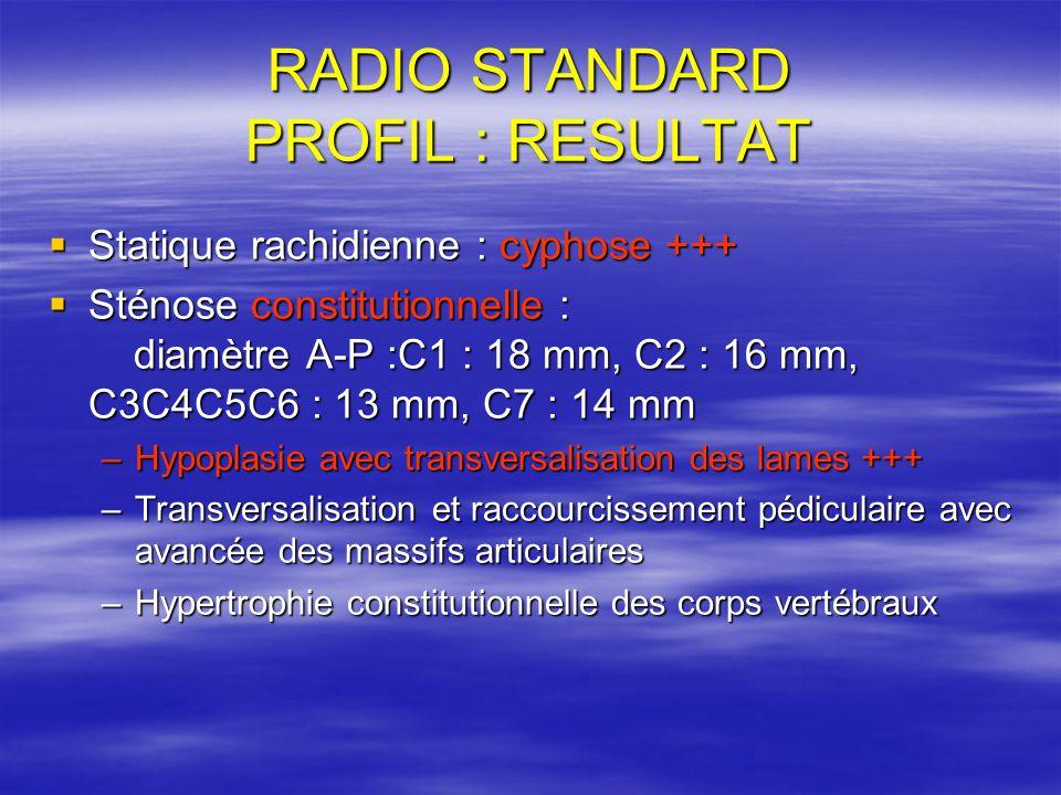 RADIO STANDARD PROFIL : RESULTAT Statique rachidienne : cyphose +++ Statique rachidienne : cyphose +++ Sténose constitutionnelle : diamètre A-P :C1 : 18 mm, C2 : 16 mm, C3C4C5C6 : 13 mm, C7 : 14 mm Sténose constitutionnelle : diamètre A-P :C1 : 18 mm, C2 : 16 mm, C3C4C5C6 : 13 mm, C7 : 14 mm –Hypoplasie avec transversalisation des lames +++ –Transversalisation et raccourcissement pédiculaire avec avancée des massifs articulaires –Hypertrophie constitutionnelle des corps vertébraux