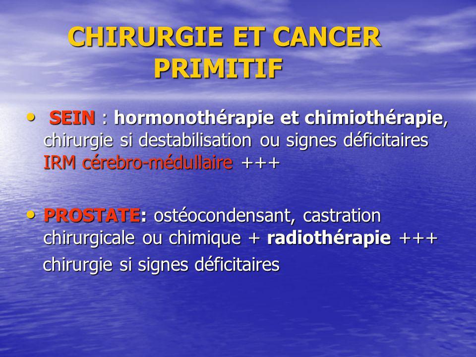 CHIRURGIE ET CANCER PRIMITIF CHIRURGIE ET CANCER PRIMITIF SEIN : hormonothérapie et chimiothérapie, chirurgie si destabilisation ou signes déficitaire