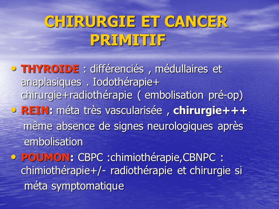 CHIRURGIE ET CANCER PRIMITIF CHIRURGIE ET CANCER PRIMITIF THYROIDE : différenciés, médullaires et anaplasiques. Iodothérapie+ chirurgie+radiothérapie