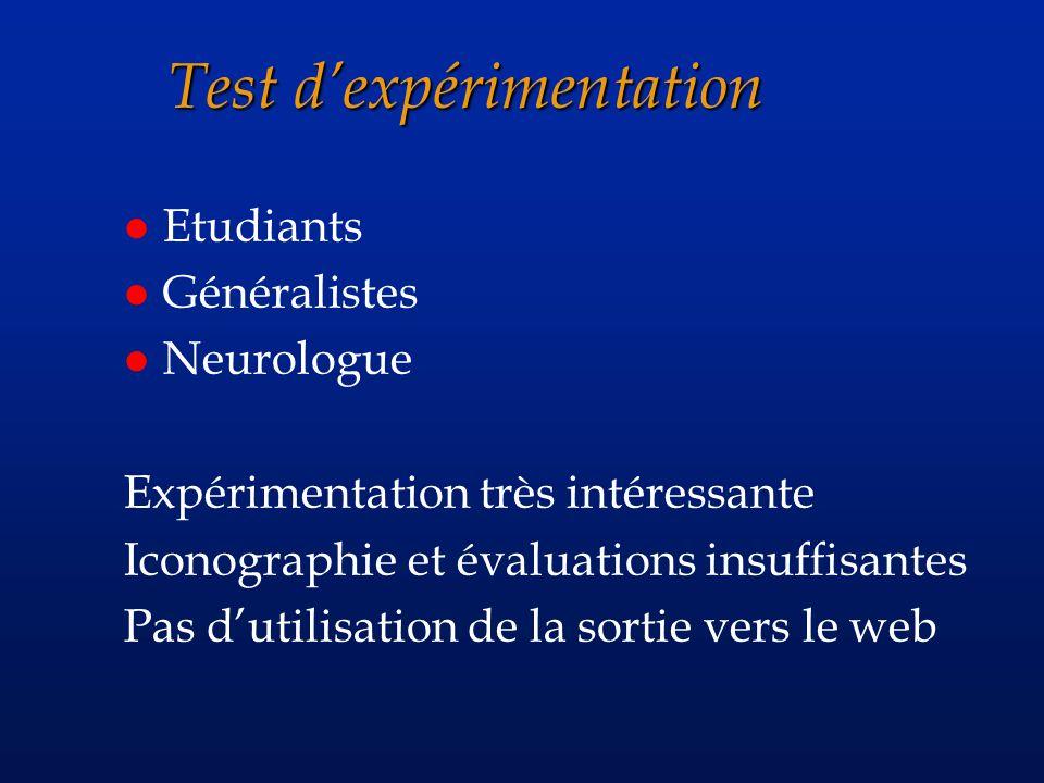 Test dexpérimentation l Etudiants l Généralistes l Neurologue Expérimentation très intéressante Iconographie et évaluations insuffisantes Pas dutilisation de la sortie vers le web