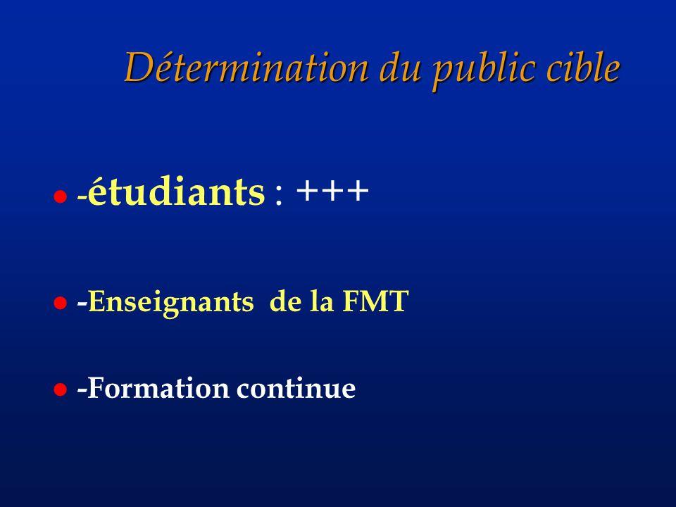 Détermination du public cible l - étudiants : +++ l -Enseignants de la FMT l -Formation continue
