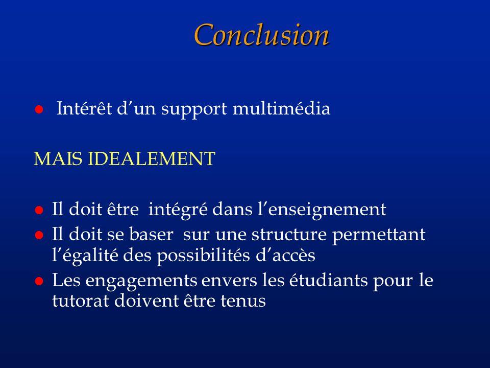 Conclusion l Intérêt dun support multimédia MAIS IDEALEMENT l Il doit être intégré dans lenseignement l Il doit se baser sur une structure permettant légalité des possibilités daccès l Les engagements envers les étudiants pour le tutorat doivent être tenus