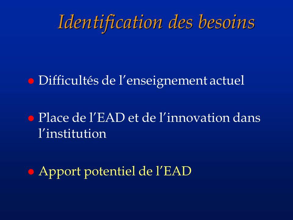 Identification des besoins l Difficultés de lenseignement actuel l Place de lEAD et de linnovation dans linstitution l Apport potentiel de lEAD