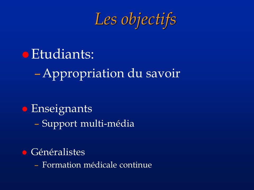 Les objectifs l Etudiants: –Appropriation du savoir l Enseignants –Support multi-média l Généralistes –Formation médicale continue