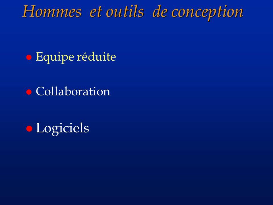 Hommes et outils de conception Hommes et outils de conception l Equipe réduite l Collaboration l Logiciels